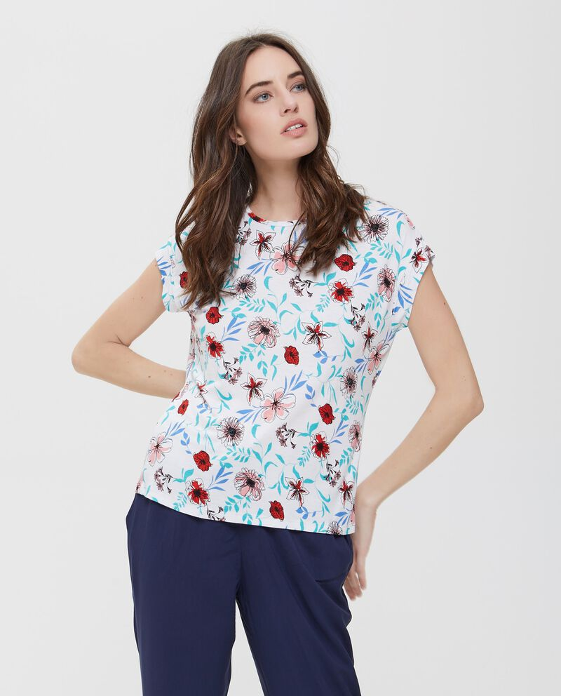 T-shirt bianca a maniche corte floreale