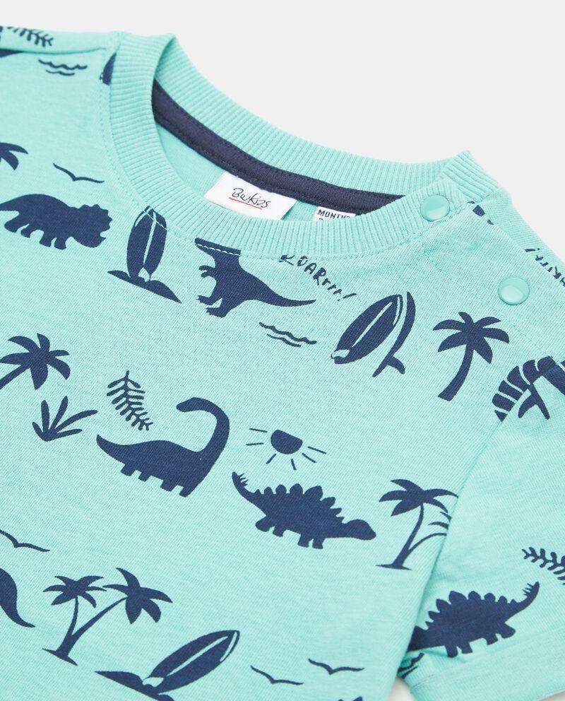 T-shirt in puro cotone con fantasia dinosauri