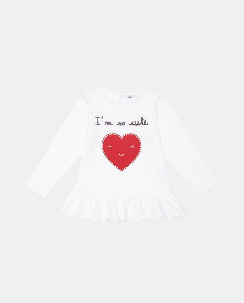 T-shirt con volant stampa cuore
