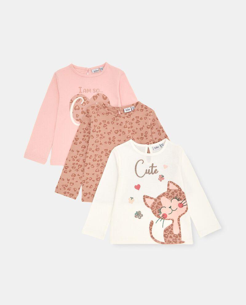 Pack con 3 t-shirt di cotone stretch neonatadouble bordered 0