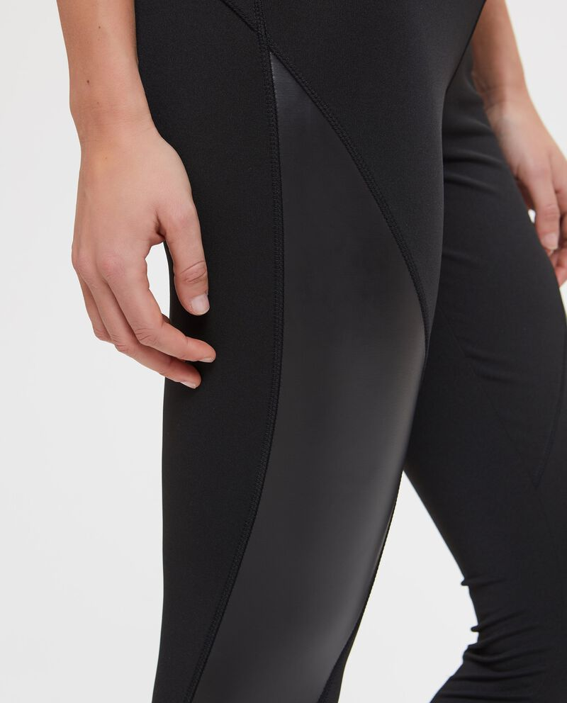 Leggings fitness inserto similpelle