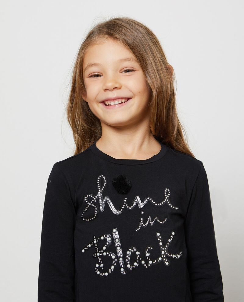 T-shirt stretch lettering strass e perline
