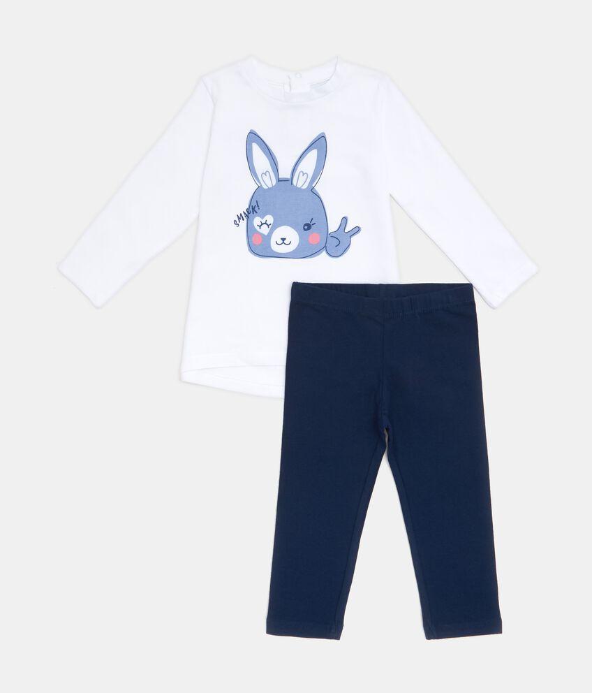 Set jogging t-shirt stampa e leggings neonata