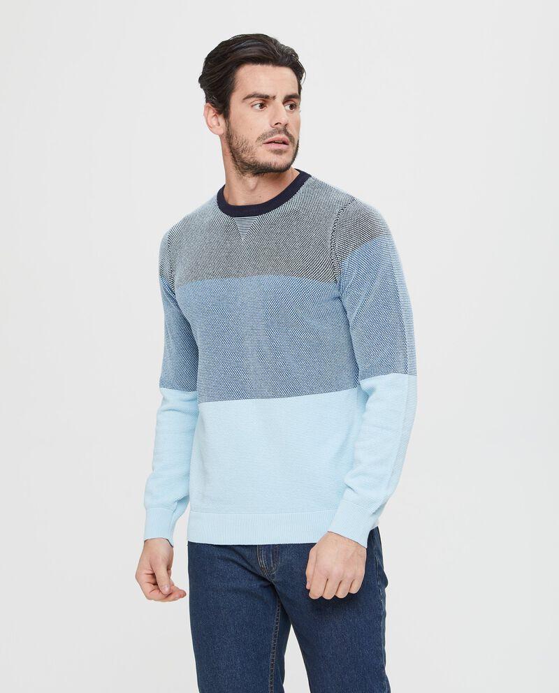 Maglione in puro cotone blu e azzurro