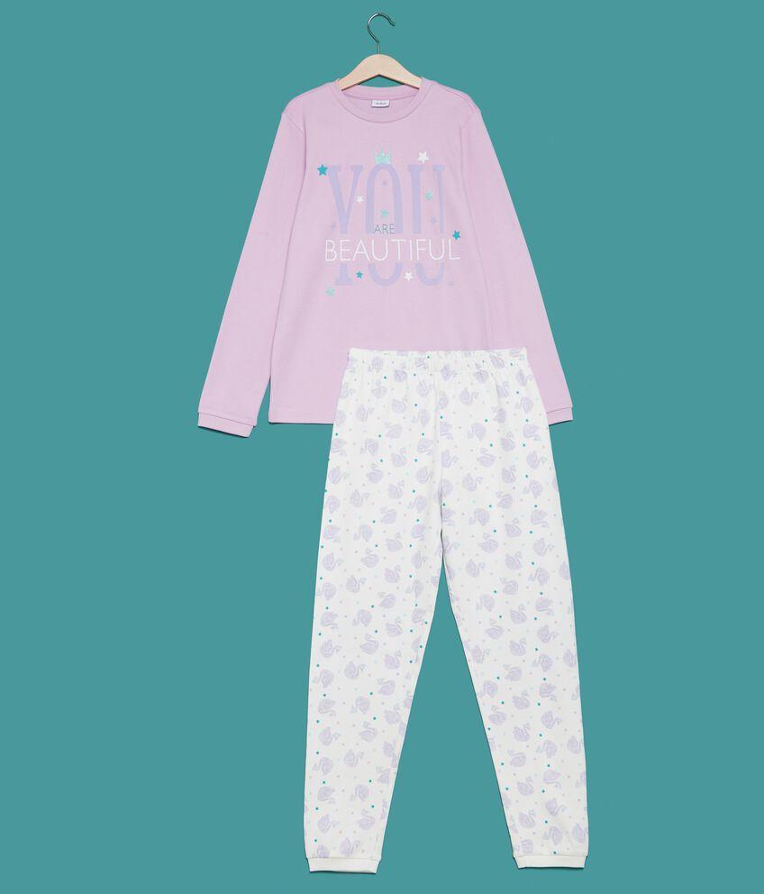 Set pigiama t-shirt lettering e pantaloni ragazza