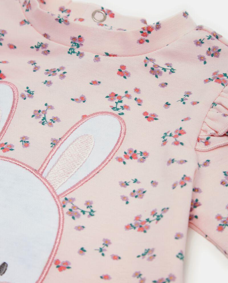 T-shirt con fantasia floreale e ruche neonata