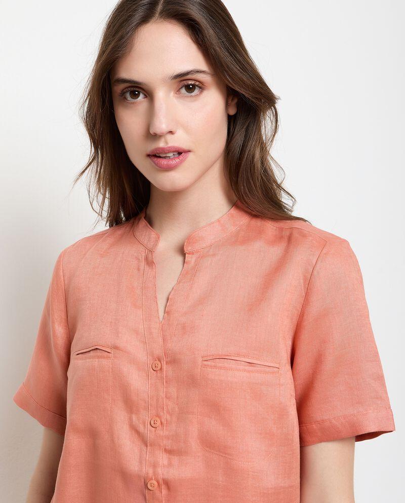 Camicia a maniche corte in puro lino donna single tile 2
