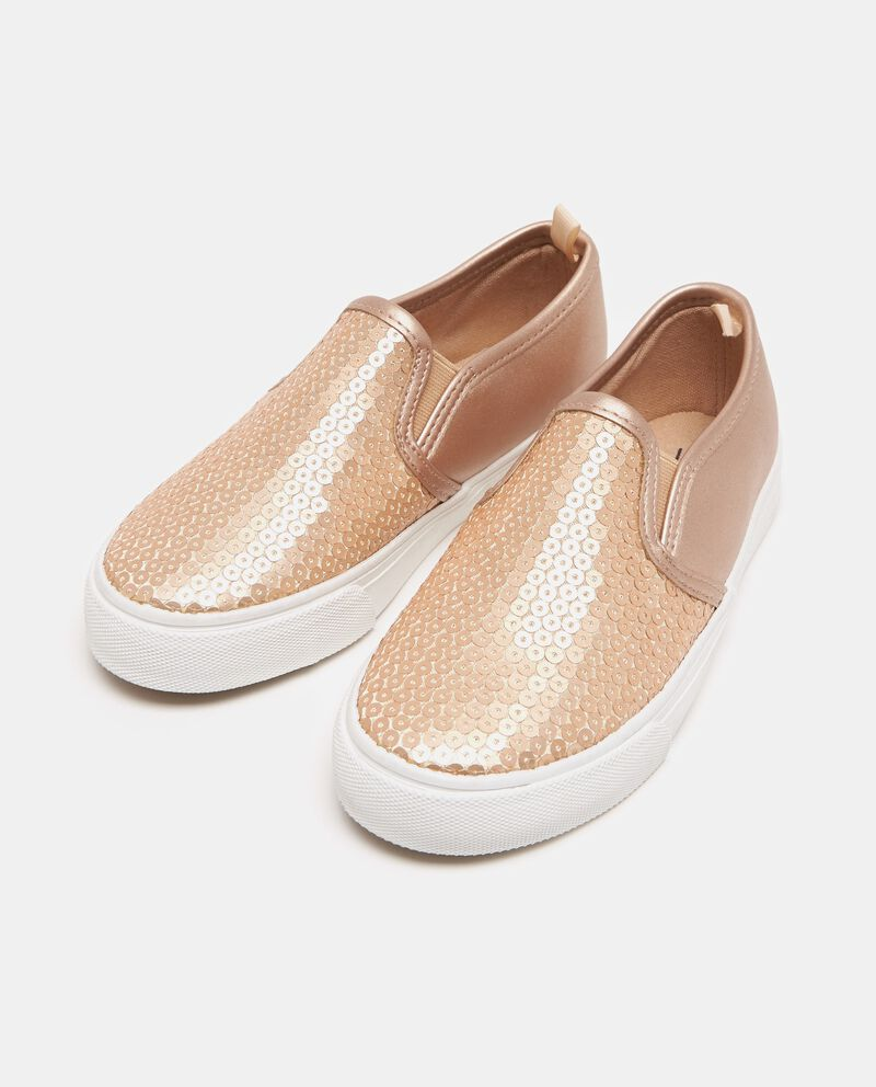 Scarpe slip on beige con paillettes bambina