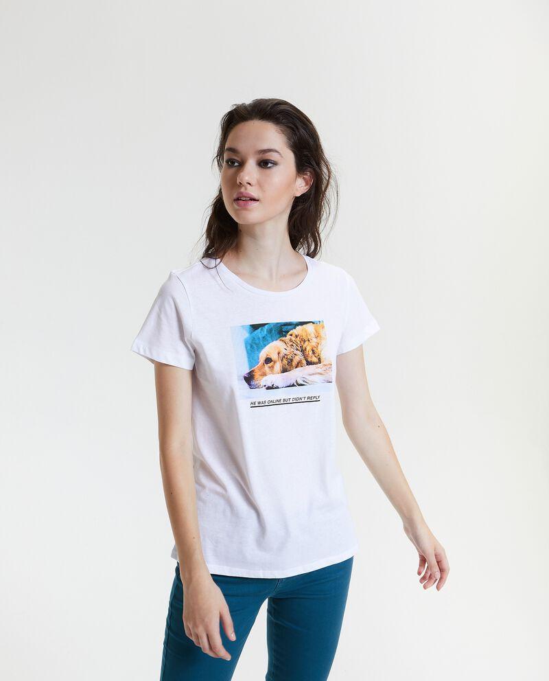 T-shirt con stampa in puro cotone donna