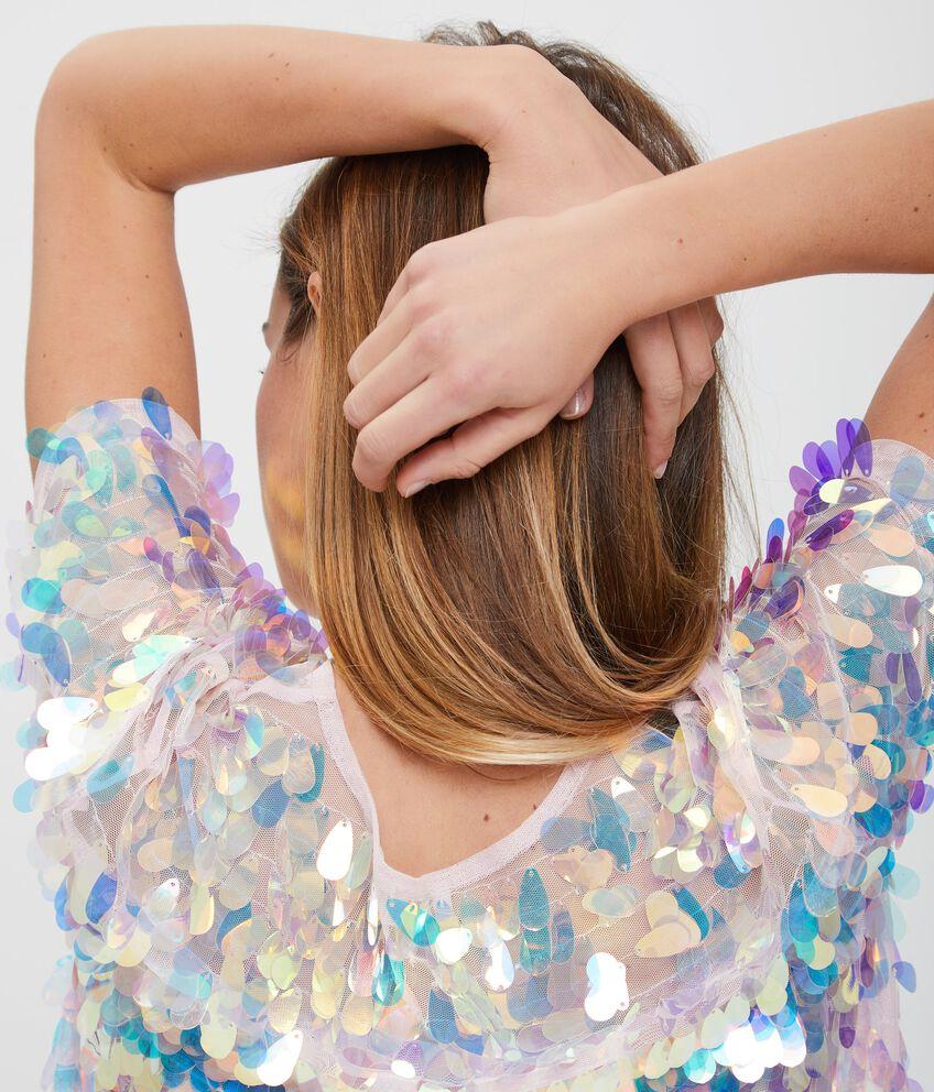 Blusa semitrasparente con paillettes