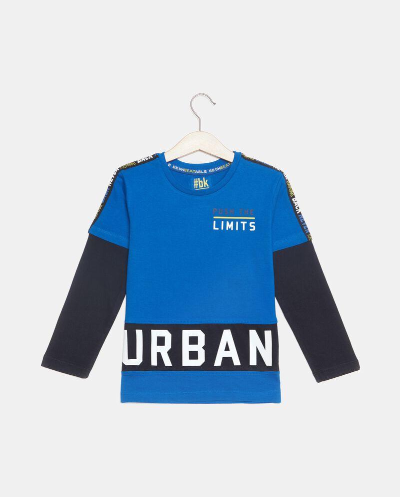 T-shirt con maniche a contrasto puro cotone bambino