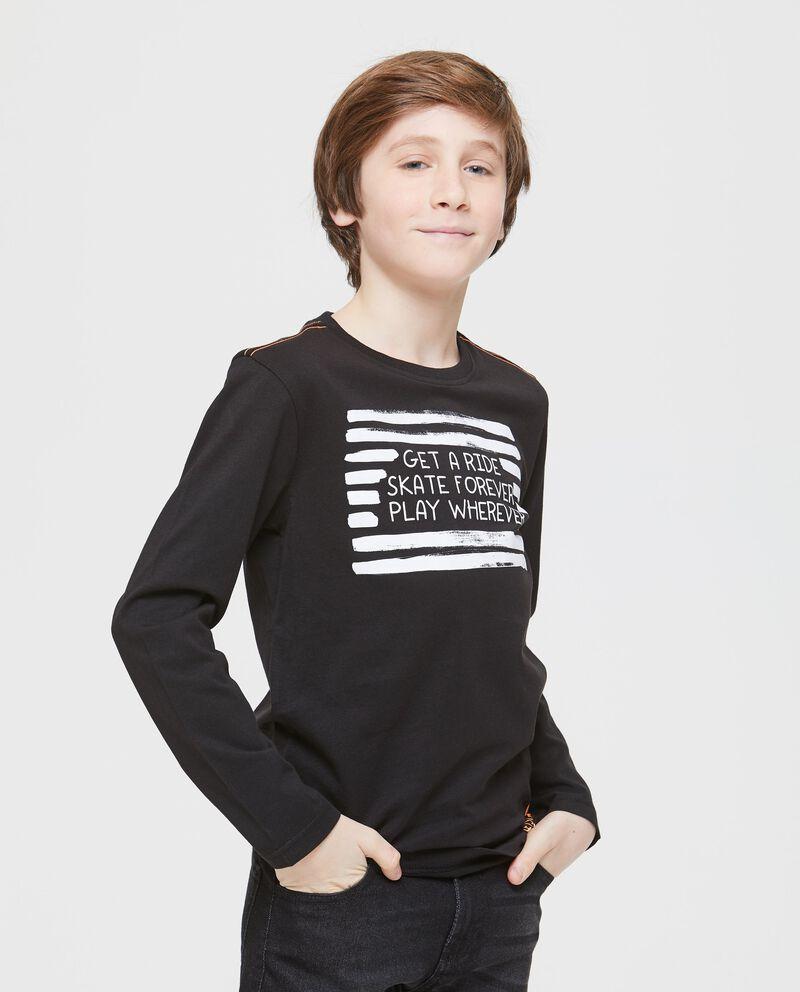 T-shirt tinta unita girocollo con costina