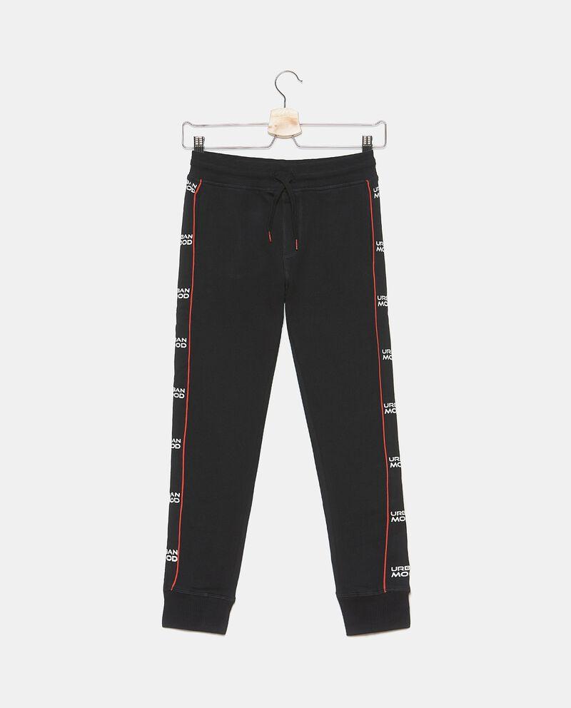 Pantaloni in puro cotone con banda lettering ragazzo