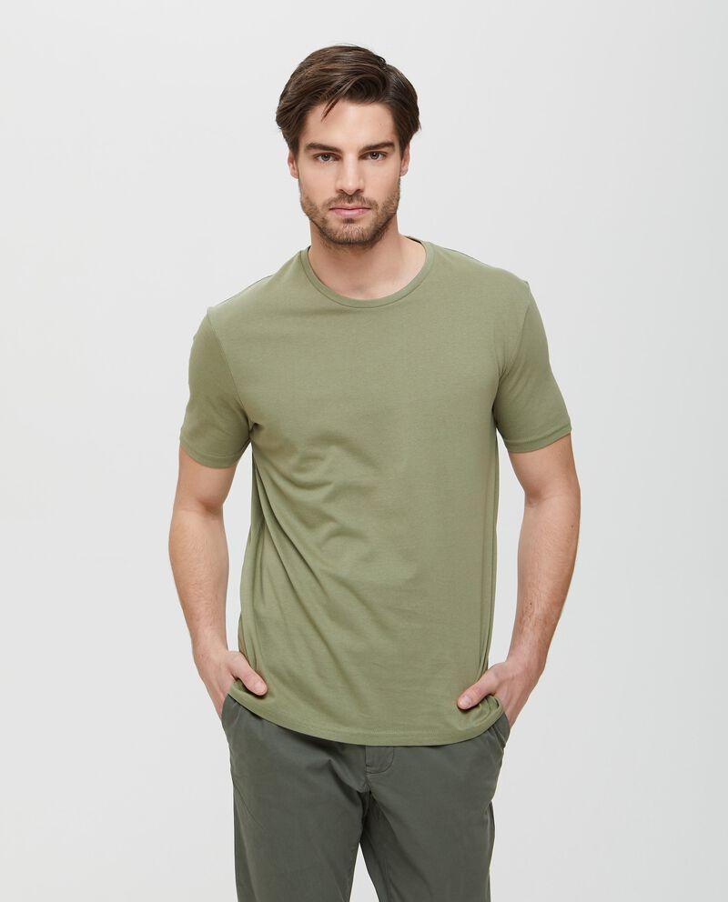 T-shirt in tinta unita puro cotone verde uomo