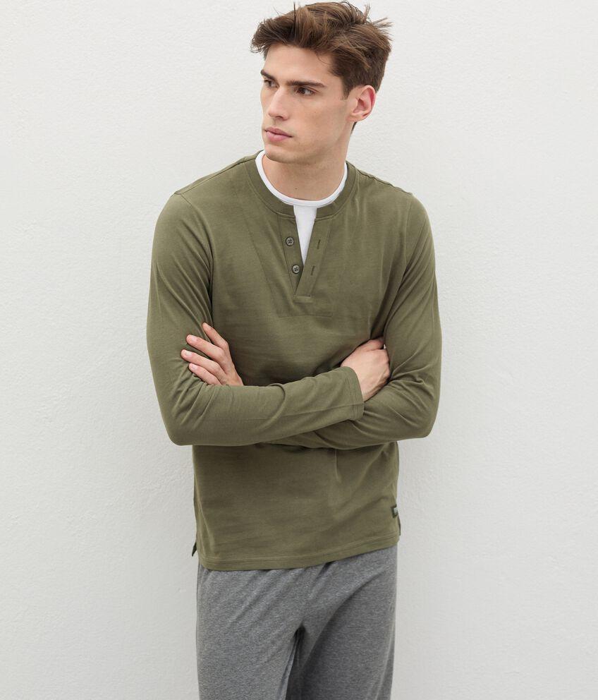 Maglia del pigiama in puro cotone con scollo a V uomo double 1
