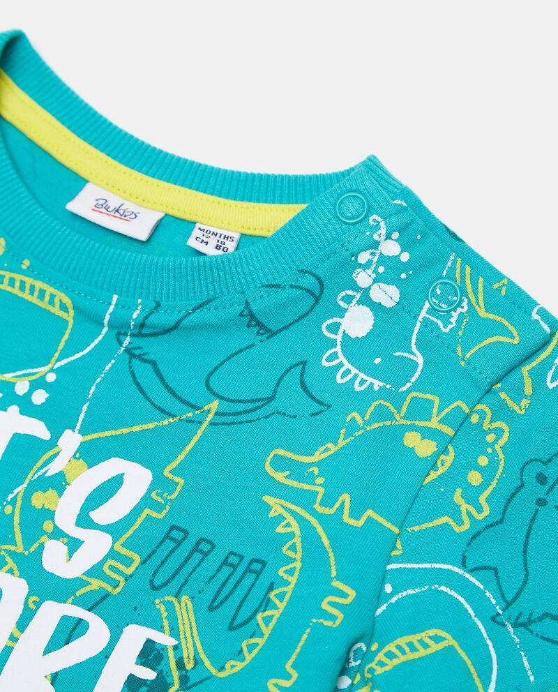 T-shirt con stampa all over in cotone organico jersey neonato