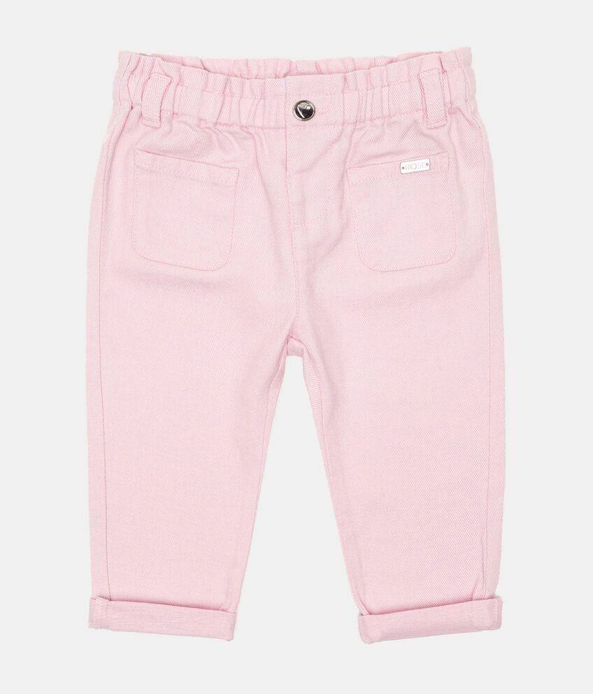 Pantaloni in misto lino con vita arricciata neonata