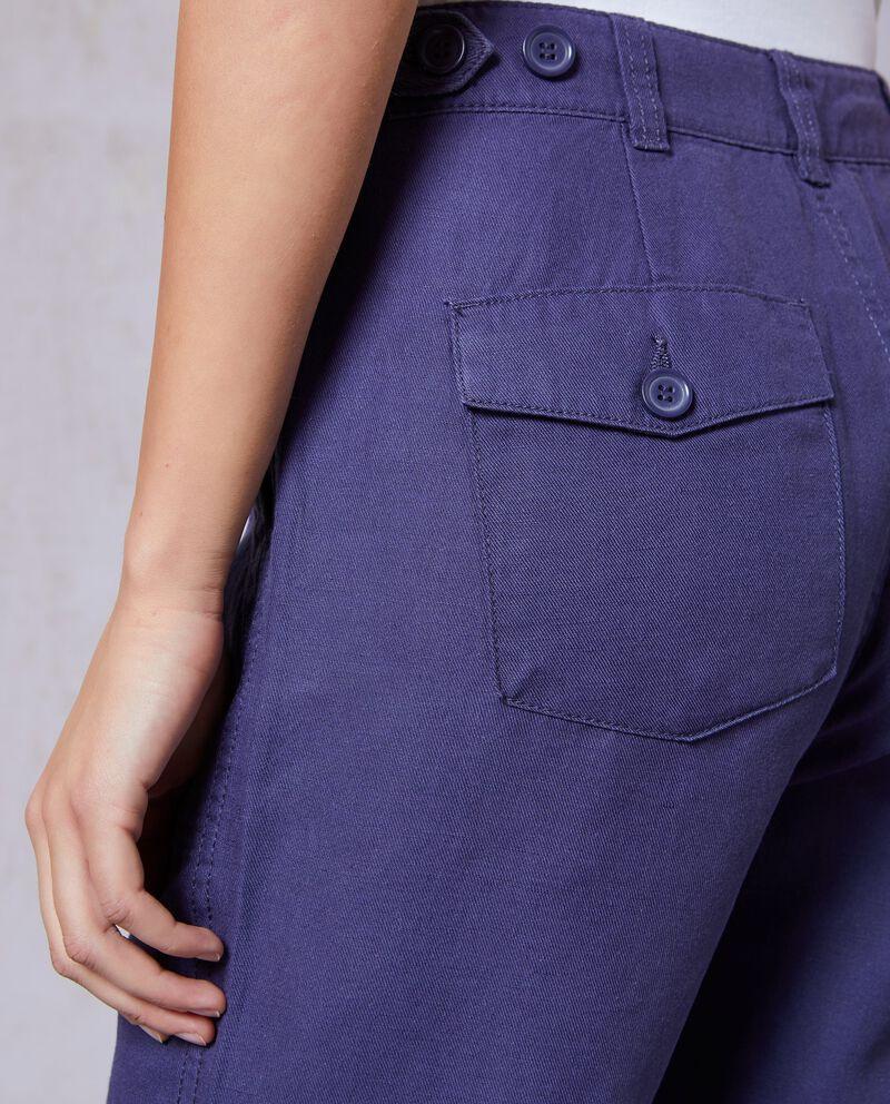 Pantaloni cotone e lino orlo sfrangiato