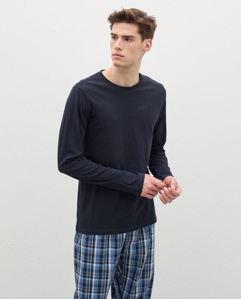 Maglia del pigiama con ricamo in puro cotone uomodouble bordered 0