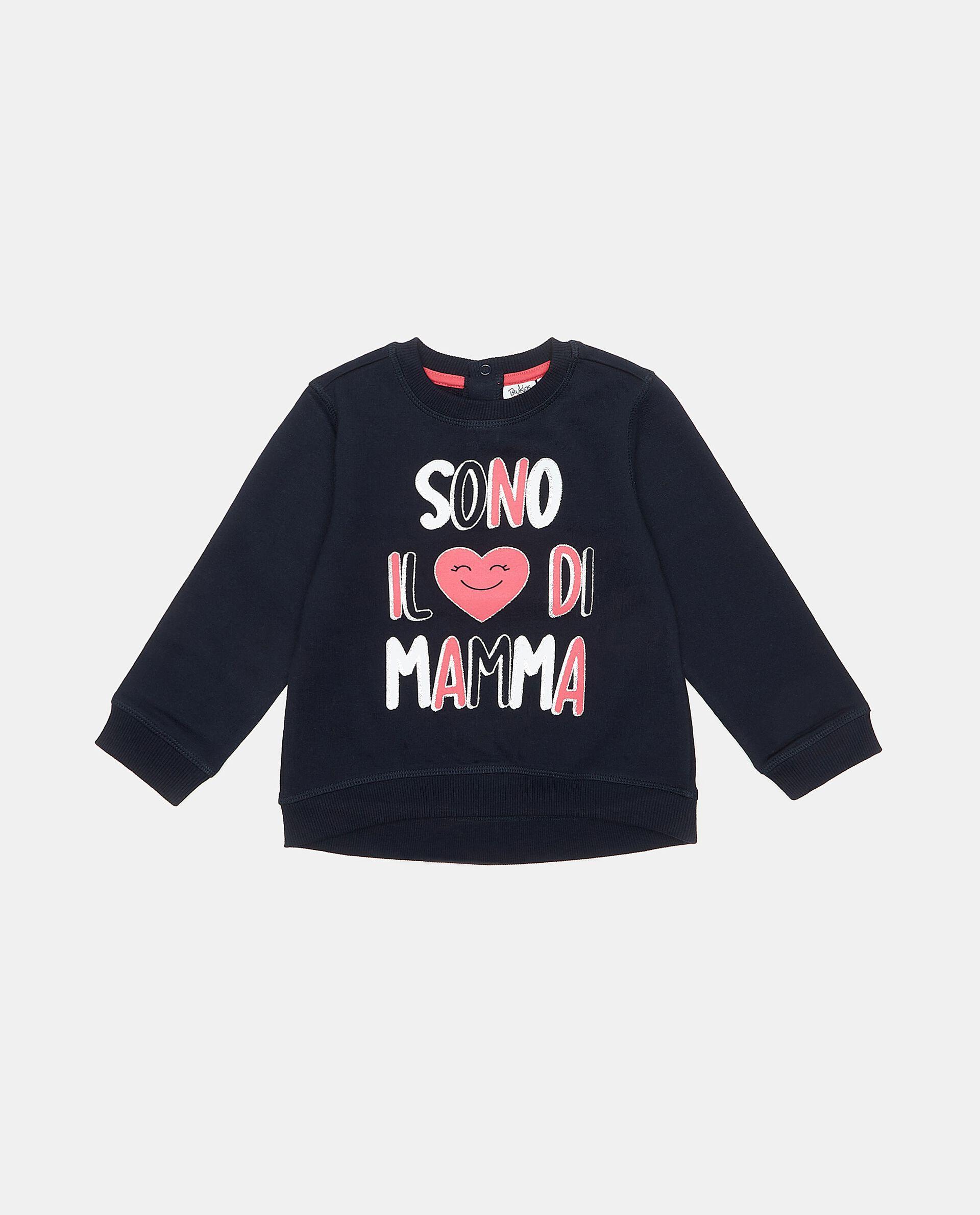 Felpa in puro cotone con lettering neonata