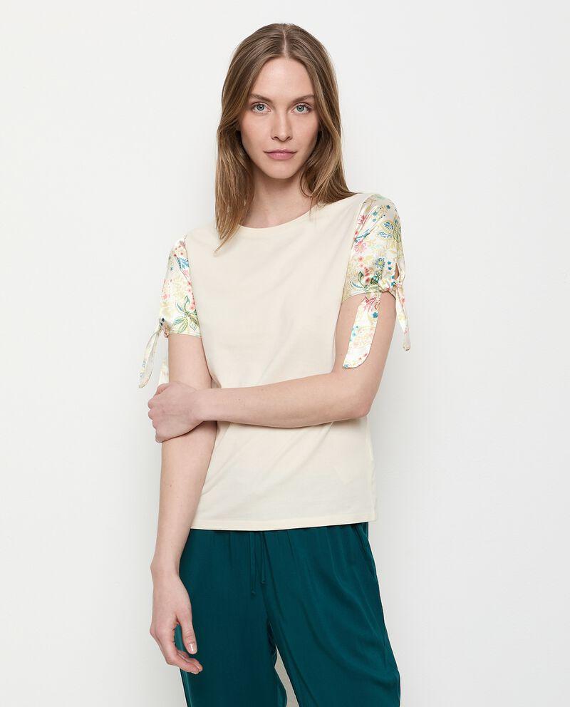 T-shirt in cotone stretch con maniche stampate donna cover