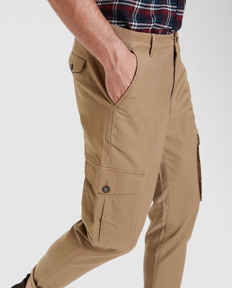 Pantaloni cargo in tinta unita slim fit uomo