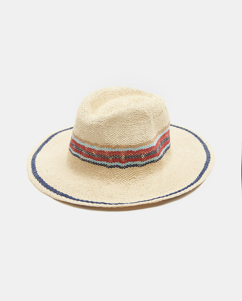 Cappello in paglia di carta con fascia ricamata