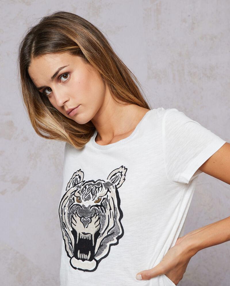 T-shirt puro cotone scollo glitterato