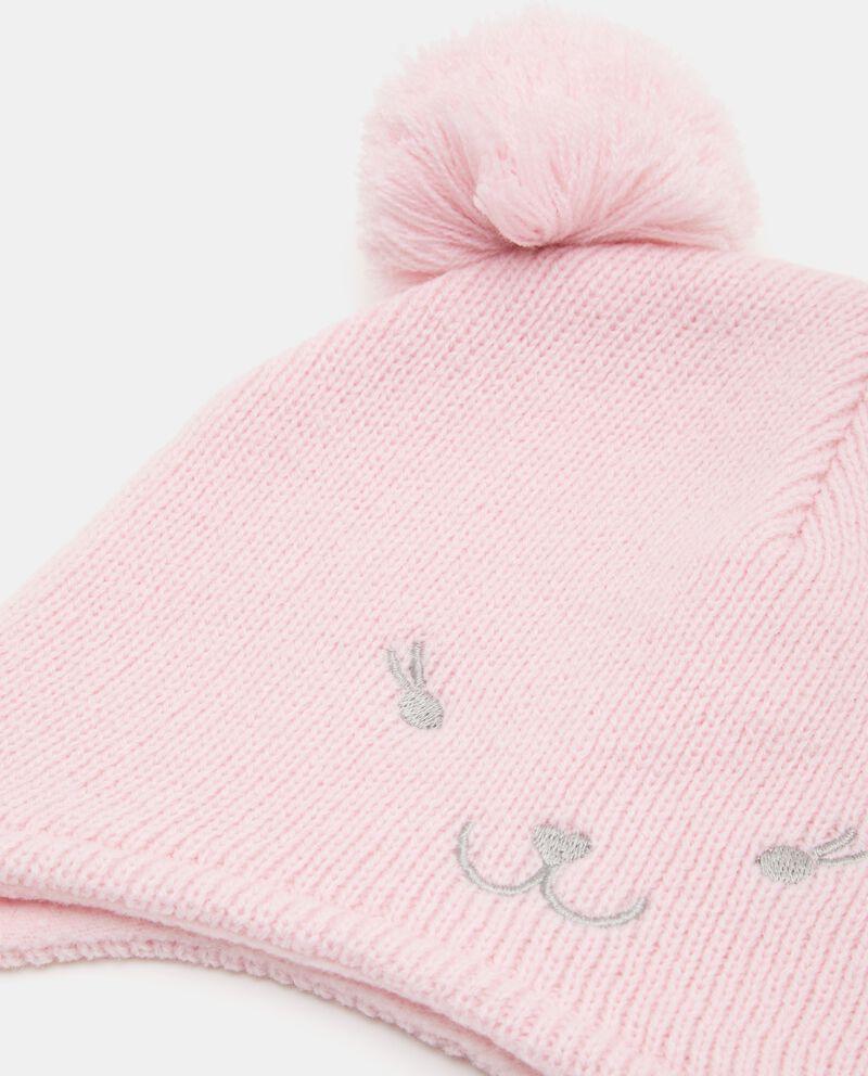 Cappellino con pon pon e disegnino neonata