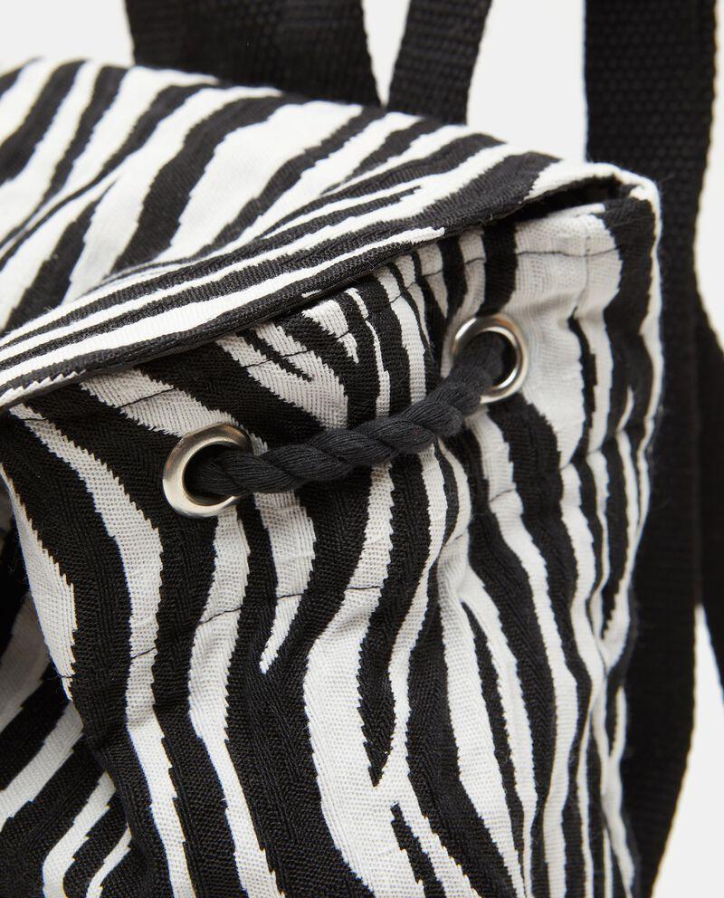 Zaino in canvas di cotone con stampa zebrata donna