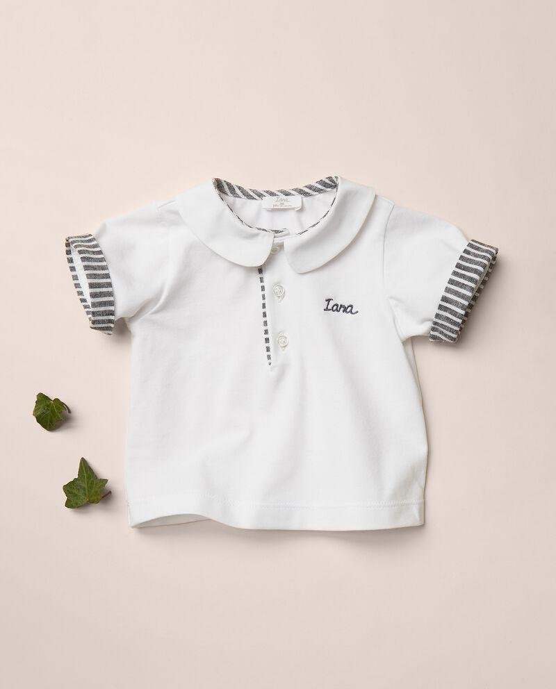 Polo in jersey stretch con inserti in misto lino rigato MADE IN ITALY cover