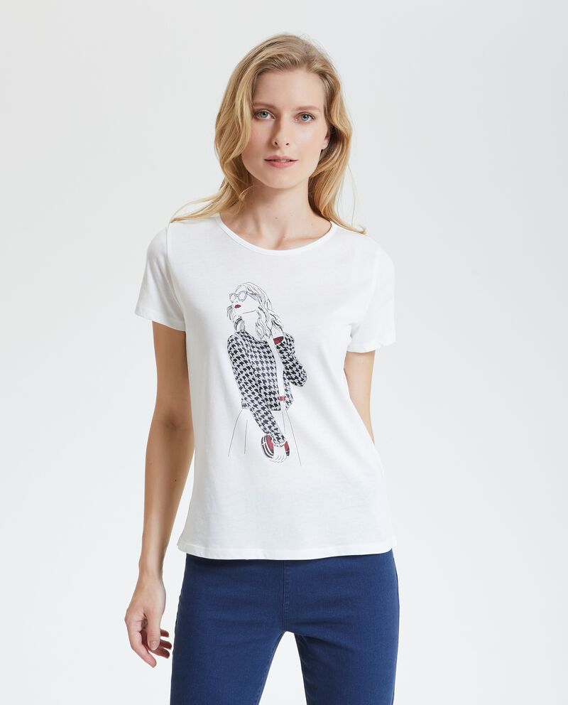 T-shirt con disegno in puro cotone donna