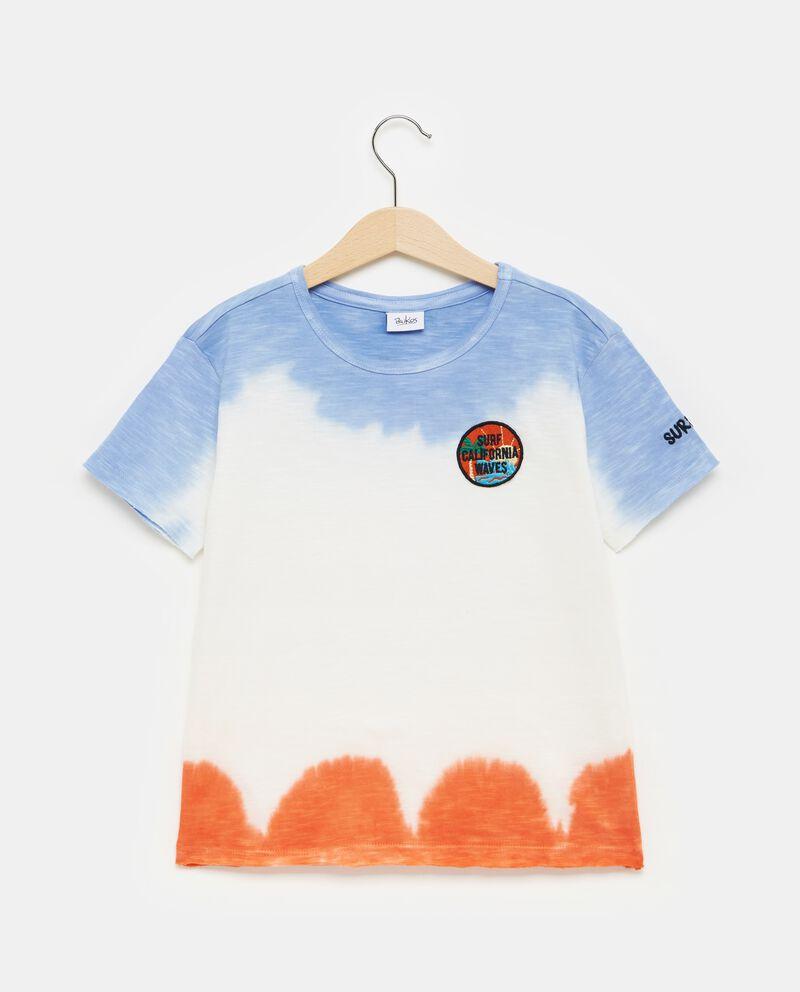 T-shirt bianca in puro cotone effetto scolorito bambino