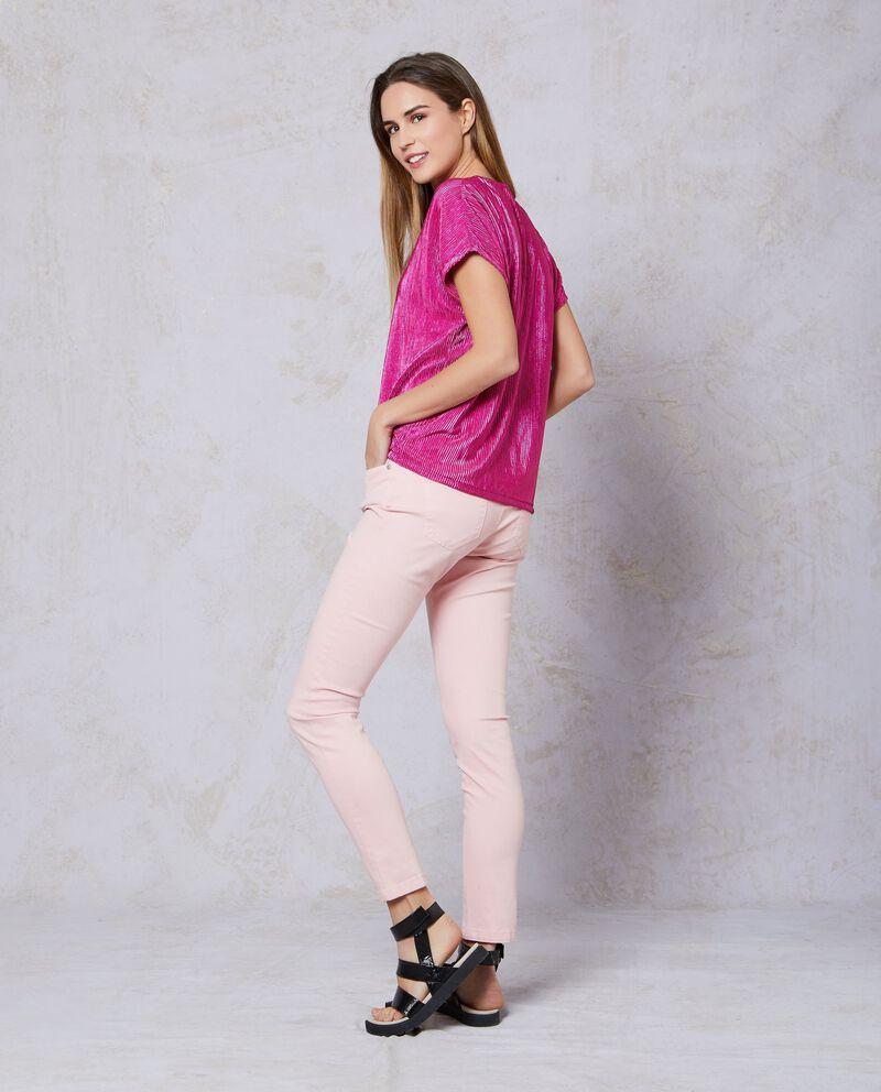 Blusa rosa a maniche corte plissé in lurex
