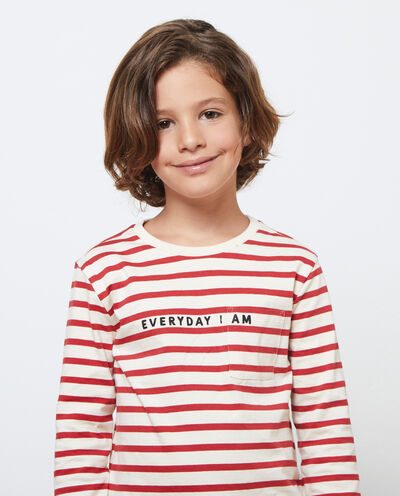 T-shirt cotone maniche lunghe a righe
