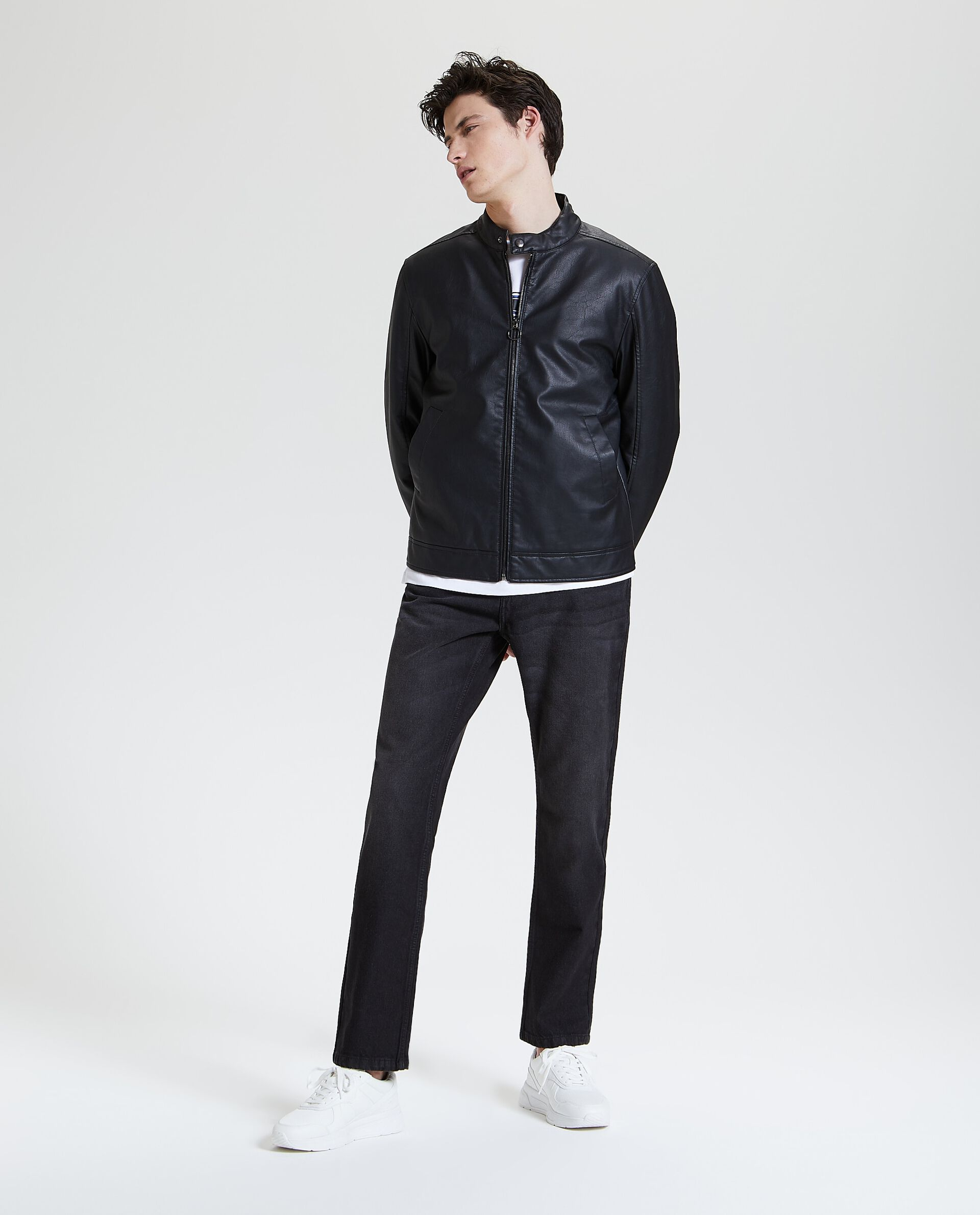 Giacca in ecopelle con zip uomo