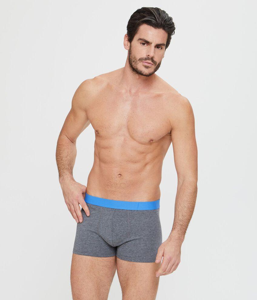 Boxer aderente grigio scuro con elastico blu