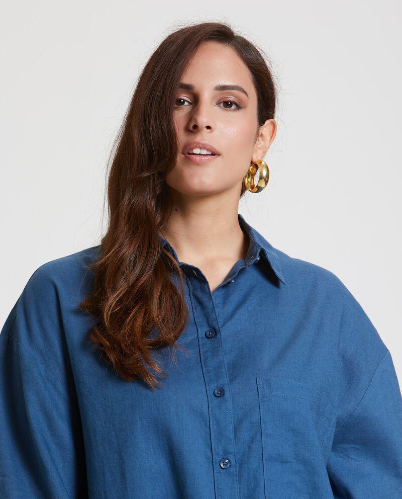 Camicia denim in cotone misto lino Curvy donna