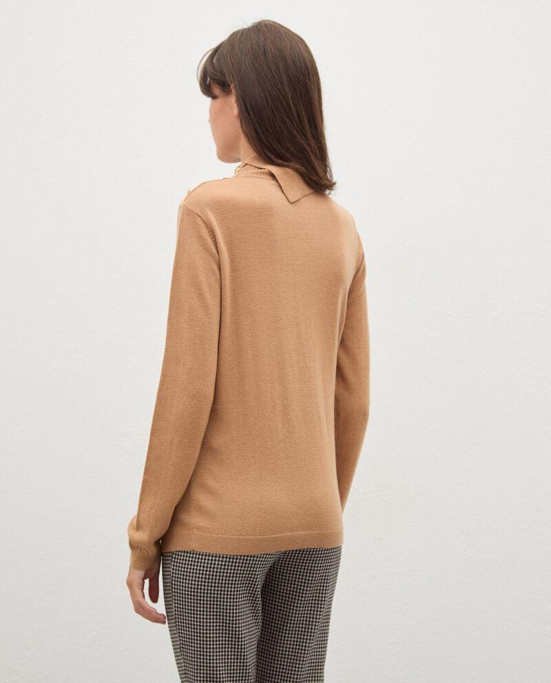 Maglia in lana collo alto con dettaglio bottoni donna single tile 1