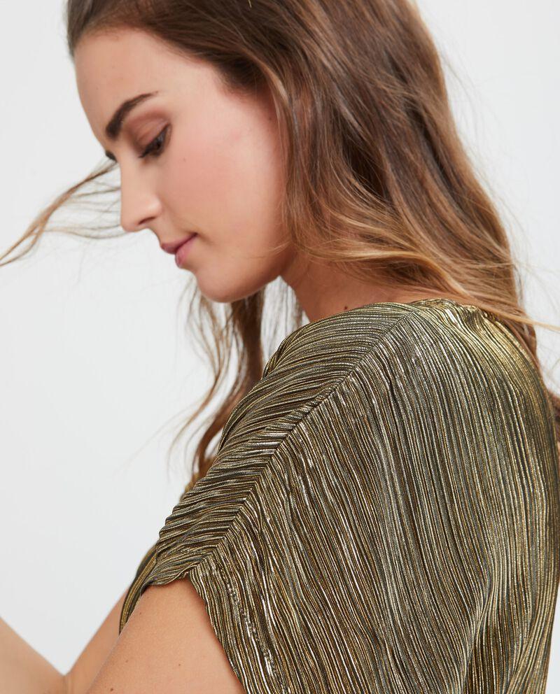 Blusa dorata a maniche corte plissé in lurex
