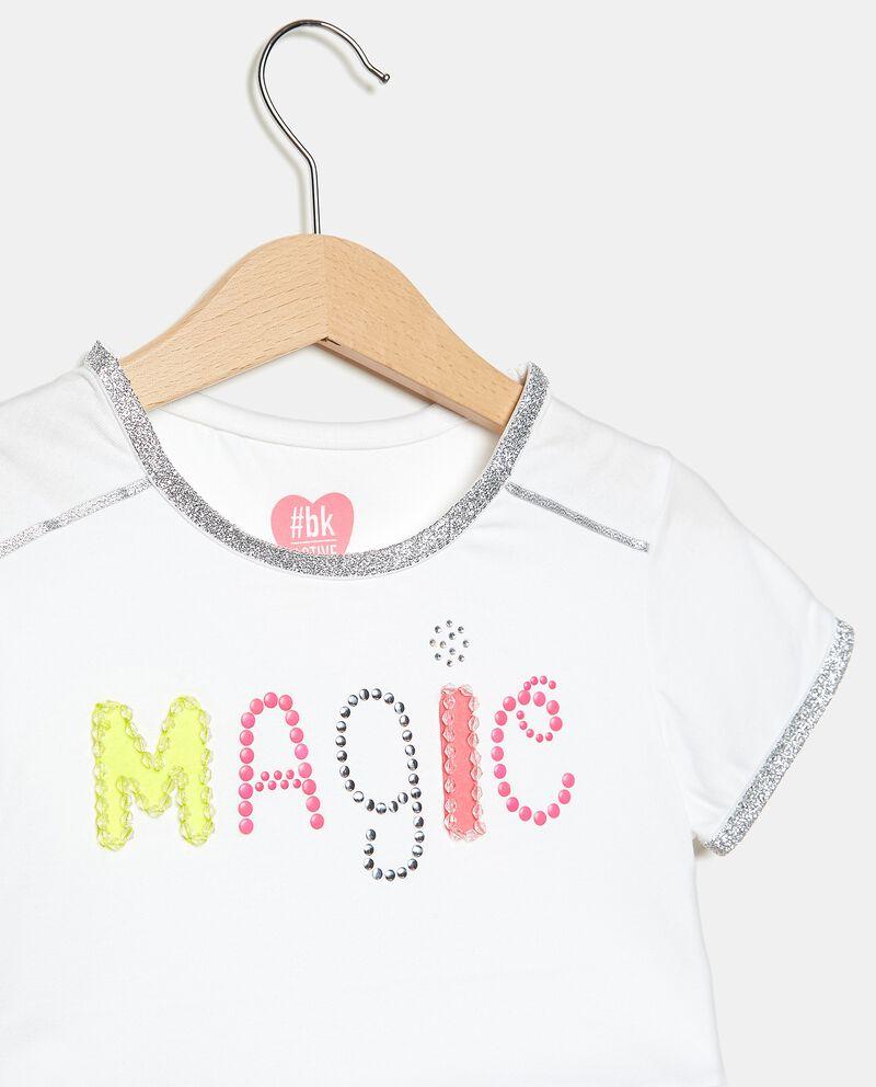 T-shirt in cotone elasticato con strass e filo lurex bambina