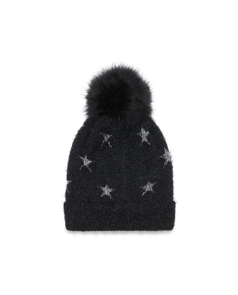 Cappello a cuffia con pon pon a stelle