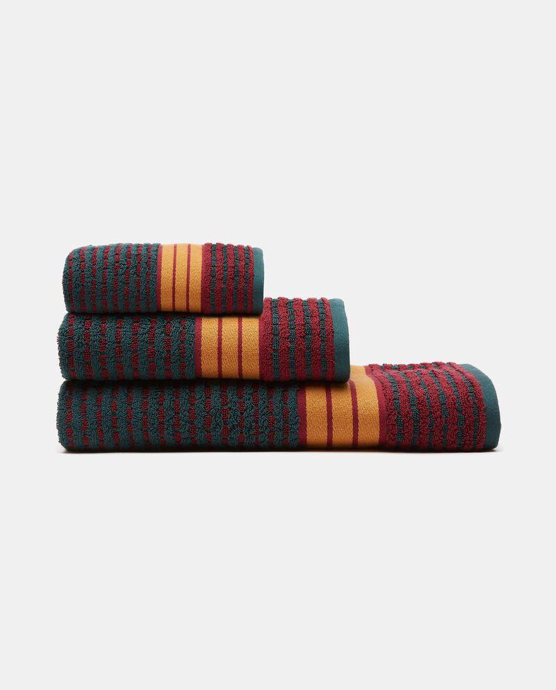 Asciugamano mani con decoro righe in puro cotone cover