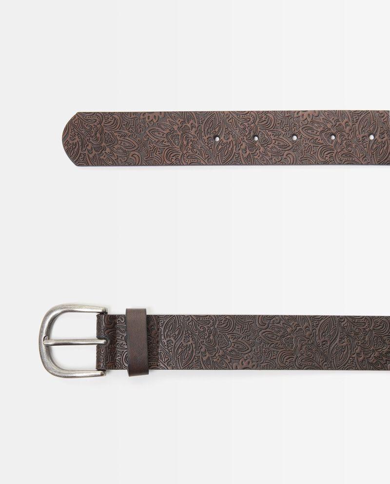 Cintura marrone con motivo in rilievo uomo