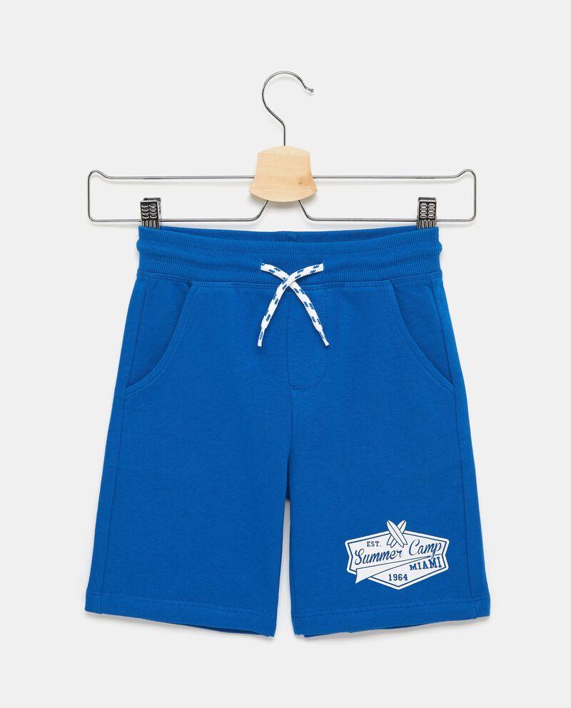 Bermuda blu in puro cotone con cordoncino bambino
