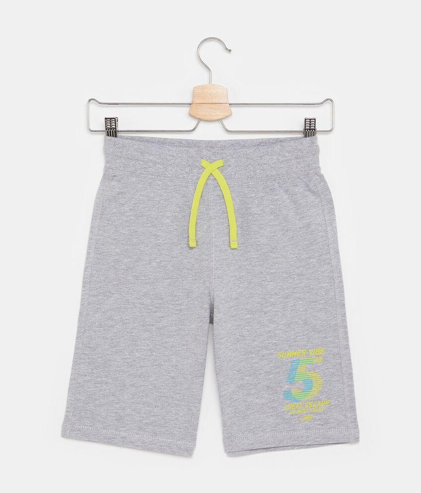 Shorts in cotone misto viscosa tinta unita ragazzo