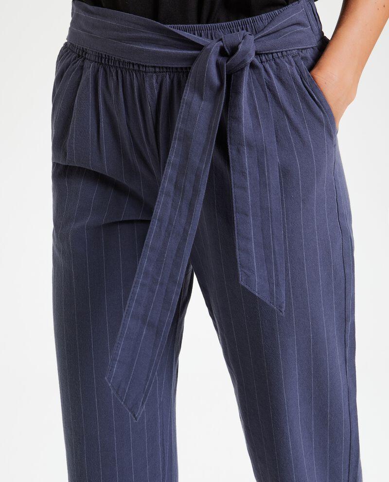 Pantaloni gessati in puro cotone donna