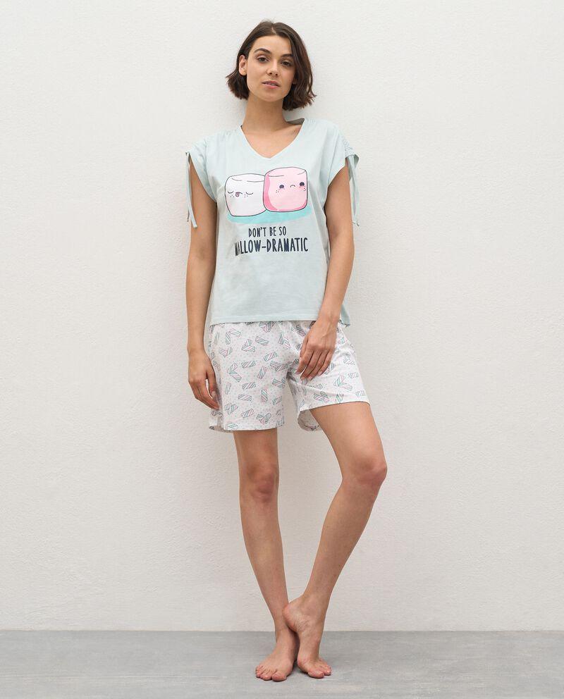 Pigiama con t-shirt e bermuda di puro cotone donna cover