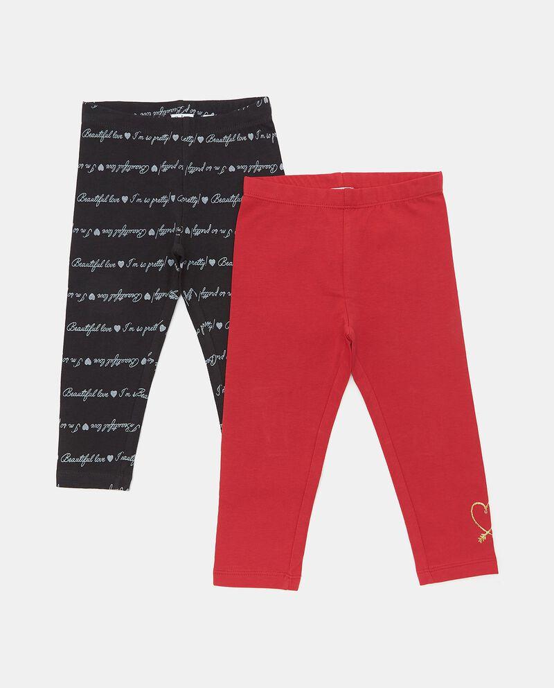 Bipack leggings di cotone biologico con stampe neonata