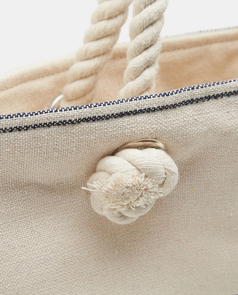 Borsa da spiaggia bianca in cotone a righe donna